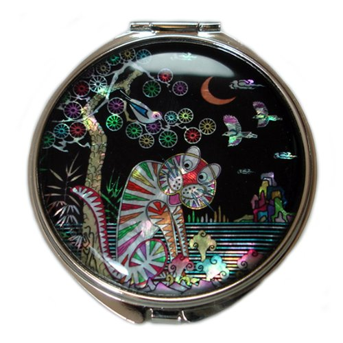 Mother of Pearl Tiger Magpie Design Purse Double Compact Cosmetic Makeup Handbag Round Mirror, 3.2 Ounce