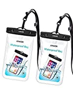 Anker Universal Waterproof Case, IPX8 Waterproof Phone Pouch Dry Bag for iPhone X / 8 / 8 Plus, Samsung Galaxy S8 / S7, Samsung Note Series, Google Pixel 2, up to 6 Inches—2 Pack