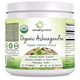Amazing India USDA Certified Organic Ashwagandha Powder – 16 oz – Raw, Vegan- Gluten-Free, Plant-Based Nutrition – Promotes Cardiovascular Health, Immune Function, Relaxation & Overall Well-Being* For Sale