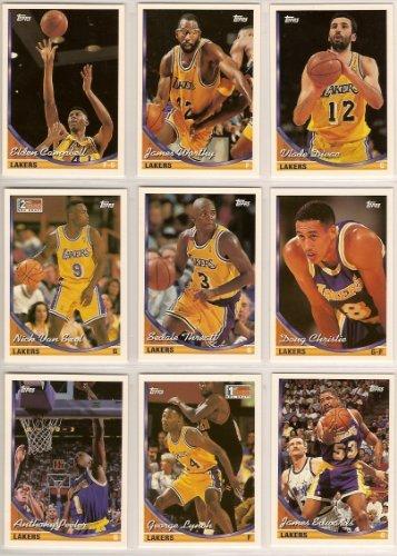 f3e8f815f94 Los Angeles Lakers 1993-94 Topps Basketball Team Set* Nick Van Exel (RC),  George Lynch (RC), James Worthy, Vlade Divac, Elden Cambell, Sedale  Threatt, ...