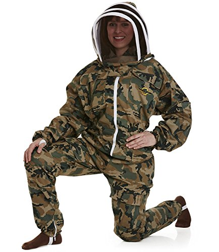 NATURAL APIARY BEEKEEPING SUIT - CAMOUFLAGE - SMALL - Complete, Full (All-in-One) - Fencing Veil - Easy to Wear & Remove - Bee Proof Seals - Professional & Beginner Beekeepers