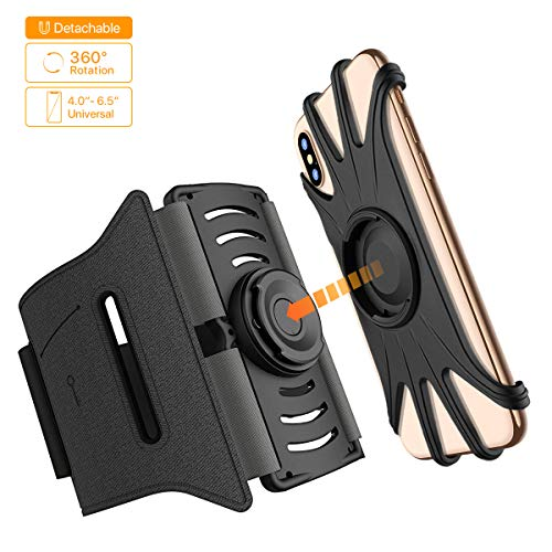 Miracase Universal Cell Phone Armband for Running, 360 Rotation Detachable Sports Armband with Elastic Strap for iPhone Xs Max XR 8 Plus, Samsung Galaxy S10 Plus Note 9, LG Moto Smartphone (Black)