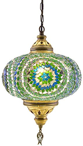 (6 Variations) Newest CopperBull 2018 XL Turkish Moroccan Tiffany Style Handmade Mosaic Hanging Ceiling Lamp Light Pendant Fixture Lantern, XL - 10
