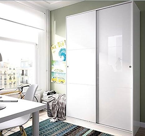 LIQUIDATODO ® - Armario de puertas correderas moderno y barato de 100cm ancho en blanco brillo: Amazon.es: Hogar