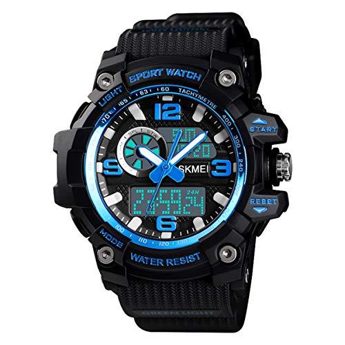 Multifunction Digital Wrist Watch - Mens Military Watch Digital Waterproof Wrist Watches Outdoor Sport Multifunction Casual Dual Display 12H/24H Stopwatch Calendar Watch - Small Black Blue