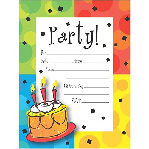 - Creative Converting 8 Count Cake Celebration Postcard Party Invitations, Multicolor