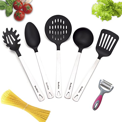 Kitchen Utensils, BravRain 5+1 Piece Kitchen Tools with a Julienne 3 in 1 Peeler, Nonstick Nylon and Stainless Steel Cooking Tools, Spoon, Strainer, Slotted Spatula, Ladles, Pasta (Nylon Kitchen Utensil Strainer)