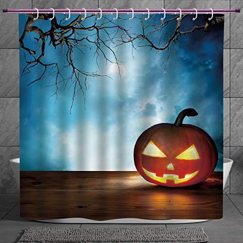 SCOCICI Stylish Shower Curtain 2.0 [ Halloween,Traditional Celebration Icon Pumpkin on Wooden Board Fantasy Midnight Sky Trees,Multicolor ] Fabric Bathroom Decor Set with Hooks