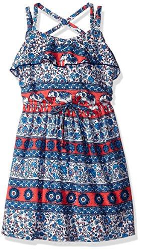 - Speechless Little Girls' Slub Knit Knee Length Sleeve Less Double Strap V-Neck Dress, Navy/Coral, 5