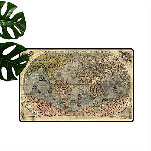 Interior Door mat Antique Ancient World Map History Hard and wear Resistant W35 xL47