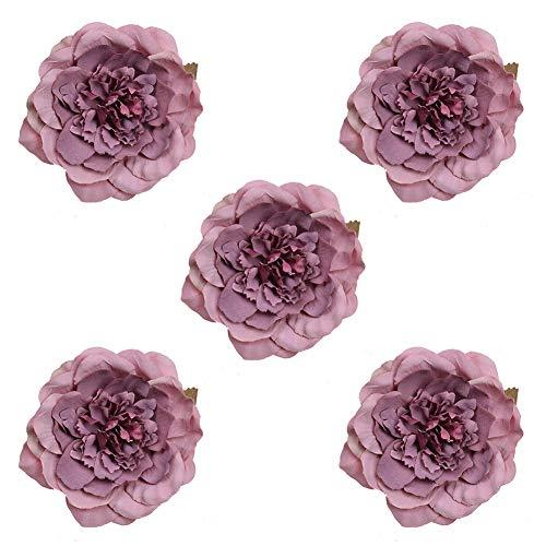 zzJiaCzs Artificial Peony Flower,5Pcs 10cm Faux Peony Flower Head Decorative Home Wedding Party DIY Decor - Cameo Brown Purple