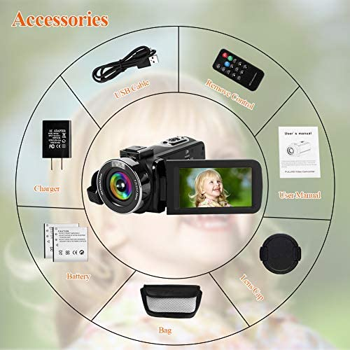 Camcorder 1080P 60FPS 42MP 18X Digital Camera 3.0'' HD Screen Video Camera for YouTube Vlogging Camera with Remote Control and Two Batteries