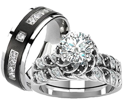 His Hers Cz Wedding Ring Set Sterling Silver and Titanium (womens 8 mens 11)