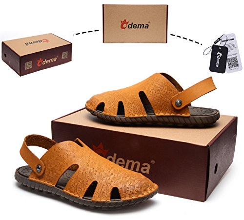 Odema Mens Estate In Pelle A Punta Chiusa Slip On Sandali Antiscivolo Sandali Da Pescatore Outdoor Giallo