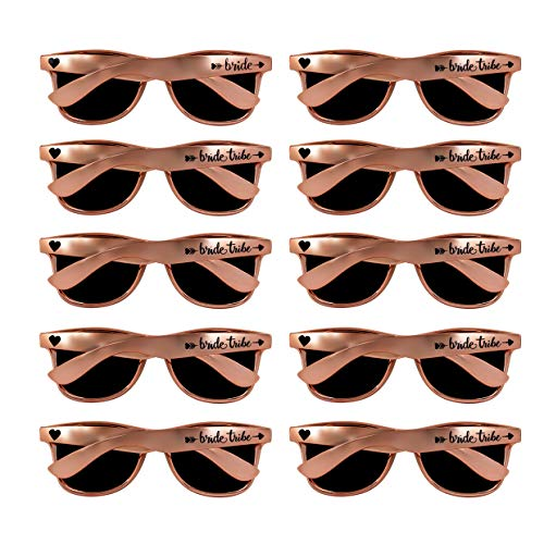 10 pcs Rose Gold Bride and Bride Tribe Sunglasses, Perfect for Bachelorette Parties, Weddings Bridal Showers