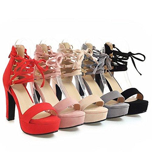 TAOFFEN Women Party Shoes High Heel Sandals Black EBqZM