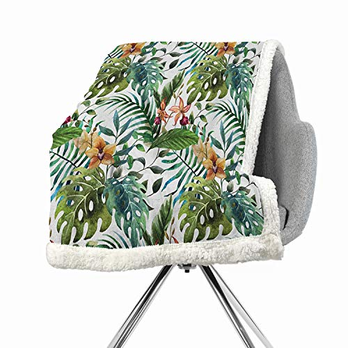 Khakihome Leaf Blanket Small Quilt 60 by 32 Inch Print Digital Printing Pale Caramel Burgundy and GreenVintage Retro 60s Seem Banana Palm Tree Leaves Flowers Hibiscus