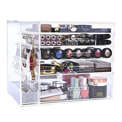 Storage Organizer 5 Drawer Display - StorageWorks Acrylic Makeup Storage Box, Premium Cosmetics Storage Organizer with 5 Drawers and 1 Multi-functional Jewelry Box Accessories Display Case By
