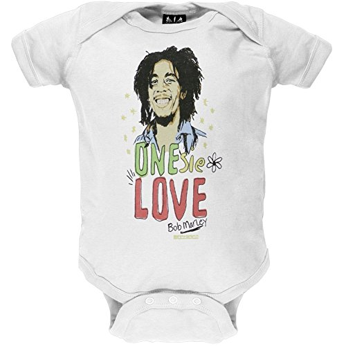 Bob Marley - Baby Boys One Love Infant Bodysuit - 6 White