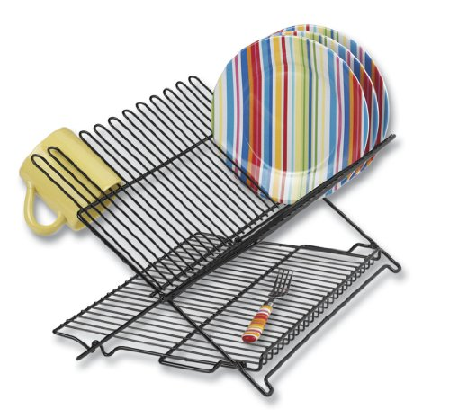 Better Houseware 1489/E Folding Dish Rack, Black
