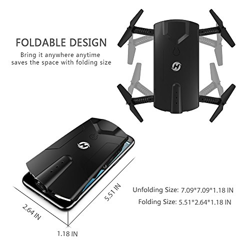 Holy Stone HS160 Shadow FPV RC Drone with 720P HD Wi-Fi Camera Live Video Feed 2.4GHz 6-Axis Gyro Quadcopter for Kids & Beginners - Altitude Hold, One Key Start, Foldable Arms,Bonus Battery by Holy Stone (Image #3)
