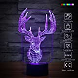 3D Glow Optical Illusion 7 Color Changing Elk Night Light Touch Button Desk Lamp Table Light Home Decor (Elk)