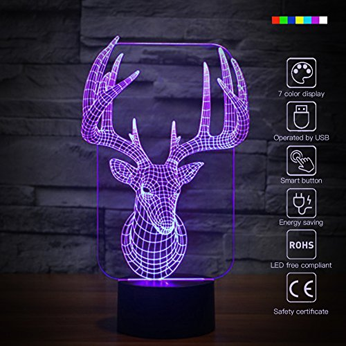 Elk 3D Night Light Animal Beside Lamp Help Kids Fell Safe at Night 7 Colors Change Decor Perfect Birthday Gift for Kids Great Toy Gift Idea for Kids (Elk) by Fding