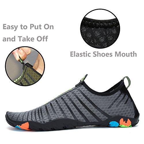 katliu Beach Shoes Barefoot Water Skin Shoes Swim Pool Surf Yoga Aqua Shoes for Women Men New Grey BWvrJW5z