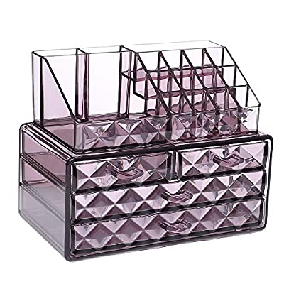 Ikee Design Acrylic Purple Diamond Pattern Jewelry & Cosmetic Storage Display Boxes Two Pieces Set. - PS MATERIAL COSMETIC & MAKEUP STORAGE CASE - Unlike ordinary makeup case, this two pieces set organizers has diamond shape pattern which adds a decorative touch to your dressing table or bedroom countertop when using it CONVENIENT & MULTI-PURPOSE - It only occupies a little space on your counter to keep makeup and accessories organized and easily accessible; The top compartment can be used to hold lipsticks, brow pencils, eyeliners, mascaras, and makeup brushes, manicure; the drawers are perfect for different shapes and sizes of your favorite foundation, eye shadow, liner, mascara, lipstick, nail polishes, jewelry and more COMPONENTS - 16 top slots and 4 drawers with different sizes - organizers, bathroom-accessories, bathroom - 514s uE3n4L. SS400  -