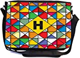 Rikki Knight Letter H Monogram Vibrant Colors Stained Glass Design Design Combo Multifunction Messenger Laptop Bag - with Padded Insert for School or Work - Includes Wristlet & Mirror