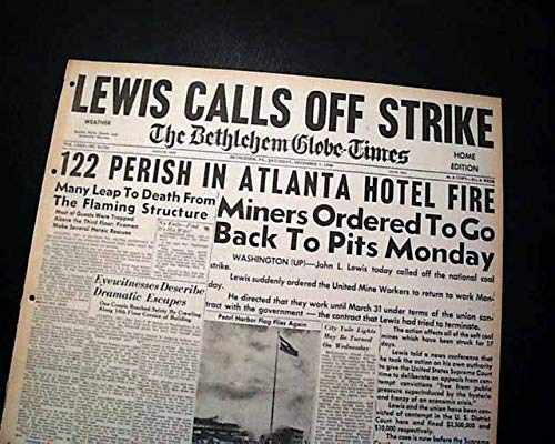 WINECOFF HOTEL FIRE Deadliest (Ellis) Disaster Atlanta GA Georgia 1946 Newspaper THE BETHLEHEM GLOBE-TIMES, Pennsylvania, Dec. 7, 1946 -