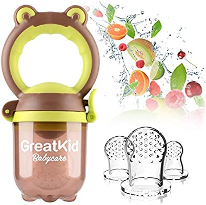 Alimentador de alimentos para beb/és Alimentador de frutas Chupete Juguete de dentici/ón infantil incluido 3 Chupete de silicona mordedor