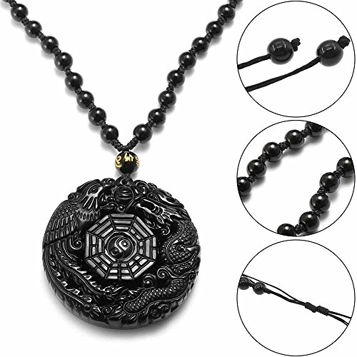 - 1 Set Accessory of Bagua Dragon Carved Obsidian Natural Lucky Chinese Phoenix Pendant Necklace