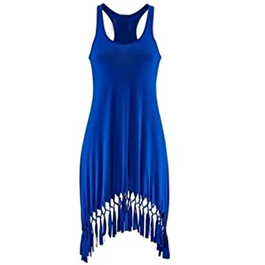 Teresamoon Halloween Promotion Womens Sleeveless Slim Tassels Knee Length Dress (Blue, ...