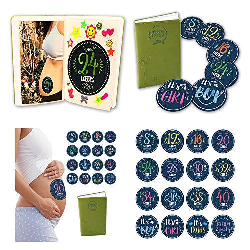 Album + 16 Pregnancy Stickers - Weekly Milestone Belly Bump Tracker for Your Pregnancy Journal - 40 Weeks - Adorable Pregnancy Gift for Mom to Be.