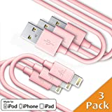 CellBee 3 Pack Apple Certified Charger- Super Fast Charging - Thick Cord - 3 ft -1 meter (Pink)