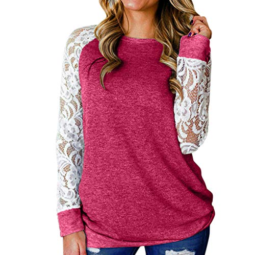Happylove  Women's Lace Splicing Long Sleeve Plus Size T-Shirt Blouse Lightweight Tunic Sweatshirt Tops Hot Pink (Goggle Marken)
