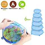 Reusable Silicone Stretch Lids (6 Pack)– Replacement Lids for Long Lasting Freshness, Durable Expandable to Fit | Spill Proof Silicone Covers Food Saver | Freezer + Microwave + Dishwasher Safe
