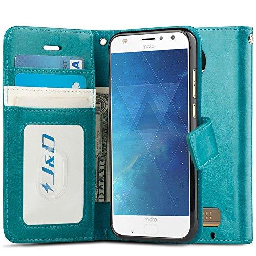 J&D Case Compatible for Moto Z2 Play Case, [Wallet Stand] [Slim Fit] Heavy Duty Shockproof Flip Cover Wallet Case for Motorola Moto Z2 Play Wallet Case - [Not for Moto Z Play/Moto Z3 Play] - Aqua