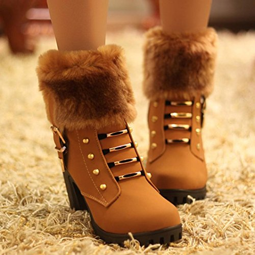Hunpta Women's Winter Artificial Plush Boots Martin Square Heels Platform Boots Brown ZkZEmAG