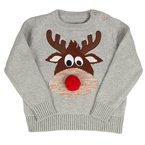 Baby Mädchen Jungen Strickjacke kinder Baumwolle Langarm Strick Pullover kleinkinder Weihnachten Pullover Grau Beige