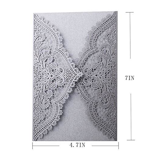 24pcs Laser Cut Wedding Invitations with Lace and Hollow Parttern,Paper Wedding Cards for Baby Shower Bridal Shower Engagement Birthday Fancy Party