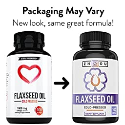 Flaxseed Oil Softgels To Support Heart Health and Healthy Hair, Skin & Nails - Cold-Pressed - Essential Omega 3 6 9 Fatty Acids - 1000 mg per serving, 100 Count