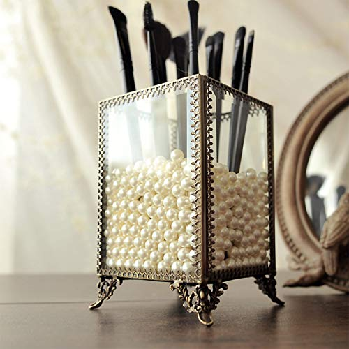 - PuTwo Makeup Organizer Vintage Make up Brush Holder with Free White Pearls - Small