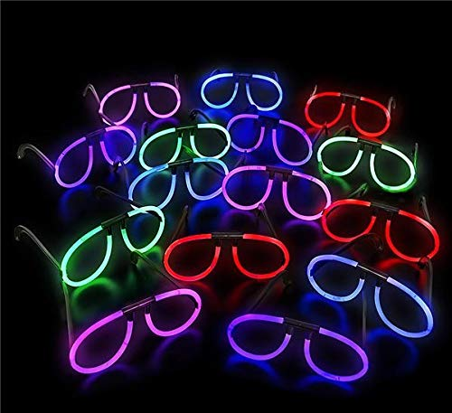 Neliblu Glow Eye Glasses Glow Sticks - Glow in The Dark Fun Party Pack with Super Bright Glowsticks and Connectors for Eyeglasses (Bulk Pack of 12) -