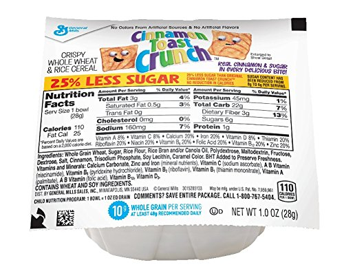 General Mills Cinnamon Toast Crunch, Reduced Sugar Cereal, 1-Ounce Bowls (Pack of 96)