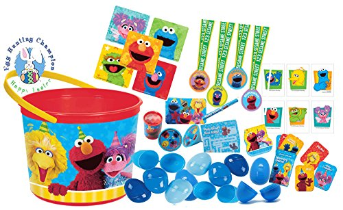 (Sesame Street Elmo & Friends Kids Toy-Filled Easter Eggs & Sesame Street Toddler Sized Easter Basket Loot)