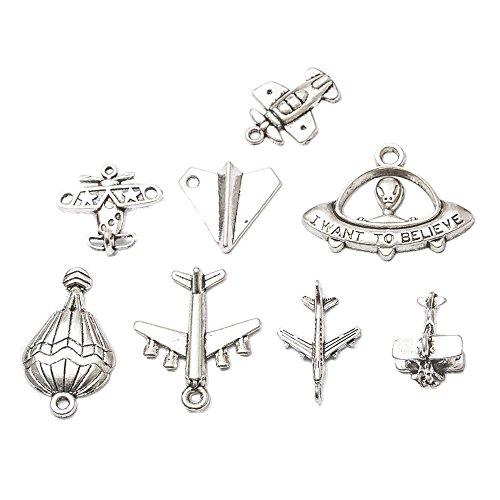 - 24pcs Charms Airplane Plane Antique Silver Balloon Charm Pendants Making DIY Handmade Tibetan Silver Jewelry (24pcs-Airplane)