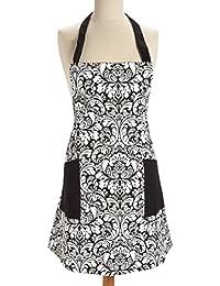 Purchase 100% Cotton Machine Washable Kitchen Apron Cooking Apron Baking Apron with 2 Pockets Black (Black) offer