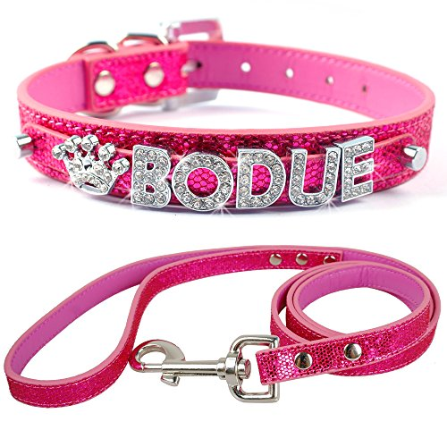Didog Personalized Dog Collar & Leash - Glitter PU Leather Made - 4 Foot Lead Length - Customized Pet Name,Crystal & Sparkly Rhinestones Letters & Bling Charms,Pink 5/8